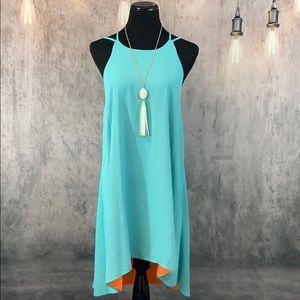 Turquoise and orange swing dress